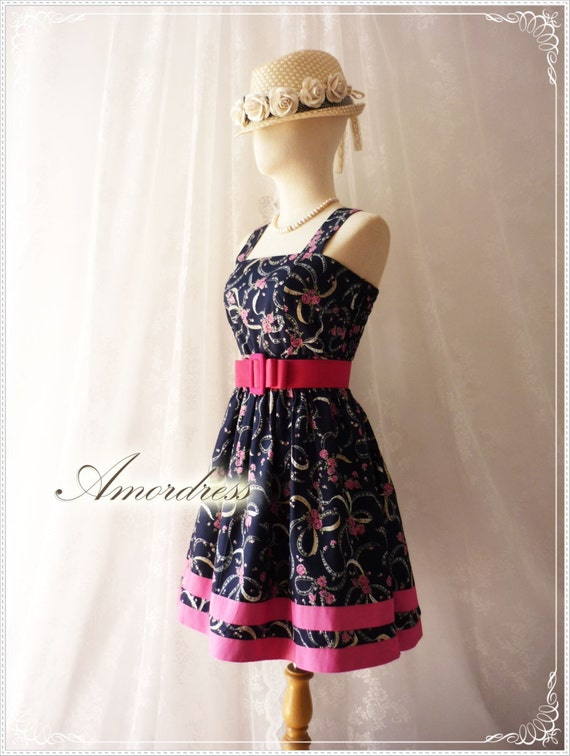 MIDYEAR SALE Flower Tea Dress Navy Summer Time Memory Party Birthday Tea Party Cocktail Wedding Pink Floral Dress Cotton Dress Size M