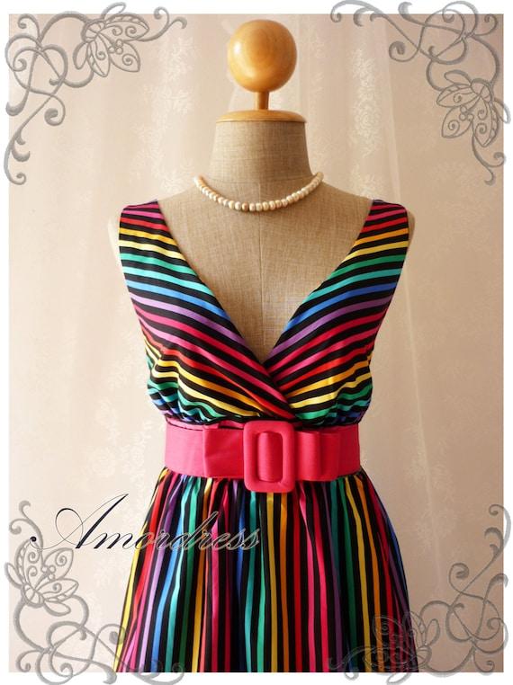 Rainbow Spectrum - Colorful Summer Dress Indigo Stripe Dress Party Popping Tea Dress Party Event Everyday Dress Black Shade -S-M-