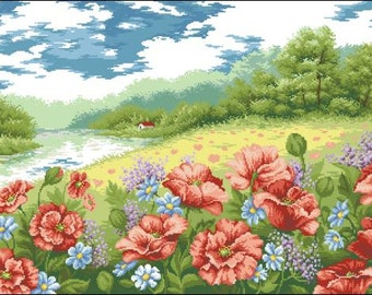 Instant Download Counted Cross Stitch Chart PDF Pattern N60ld - Summer landscape