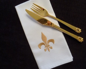 Set of 6 Cloth Cotton Embroidered Dinner Napkins- FLEUR DE LIS