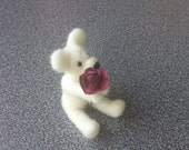 Felted miniature teddy bear with wine red paper rose gift under 25 eco friendly - FeltedByRikke