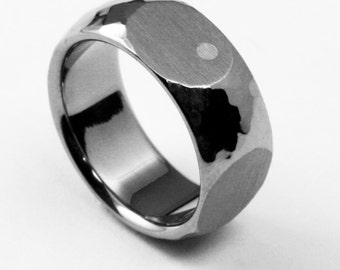 """Titanium Ring with Domed Profile, Hand Hammered, Four Side Cutouts, and One Silver Dot Inlay """"Shaken Not Stirred"""""""