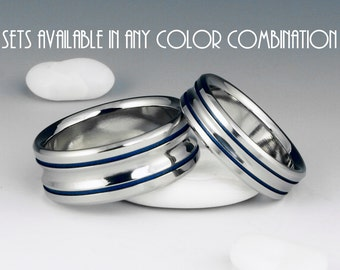 Titanium Ring Unique Wedding Band Set, Engagement, Promise or Anniversary Set with Two Colored Pinstripe Inlays and Concave Center