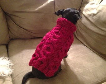 Red XOXO Cabled Dog Sweater