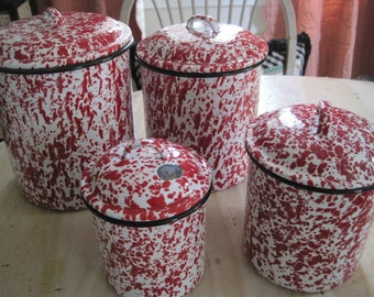 Enamel cannister set of 4 red and white vintage