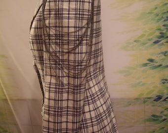 vtge 70s womens navy blue and white plaid  EVAN PICONE  fitted blazer   WB002