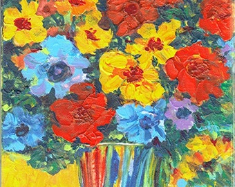Flowers for Mom -  Original Textured  Modern Acrylic Painting by ebsq Artist Ricky Martin - ready to hang, FREE SHIPPING