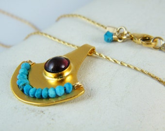 Garnet Turquoise necklace gold necklace Ancient Egyptian jewelry