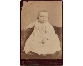 Antique Cabinet Photo,  James Perry Heroy, Sweet Baby Photograph, Cabinet Card Photo, Identified Photo, Binghamton N.Y. Evans Photographer