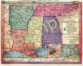 Old Tennessee map Mississippi map, Arkansas map, Louisiana map, Alabama map ,Instant Download 1880s Color Printable map