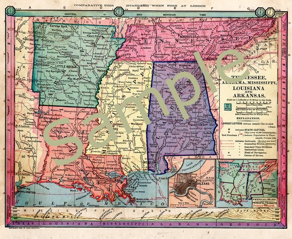 Old Tennessee Map Mississippi Map Arkansas Map Louisiana