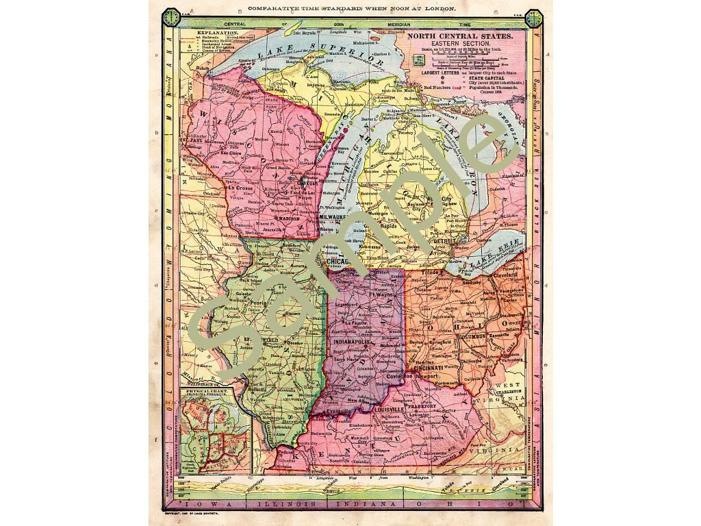 Old Map Of Wisconsin Michigan Map Illinois Map Indiana Map - Map of indiana and illinois