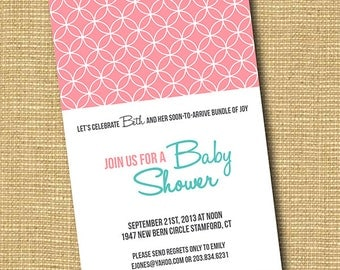 Circle Up: DIY Printable Baby Shower Invitation available in purple, pink, blue, green and more