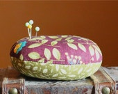 Pin Cushion, Sewing Supplies, Holds Pins, Green and Purple, Spring, Floral, Quilting Supplies, Accessories, Crafter Supplies