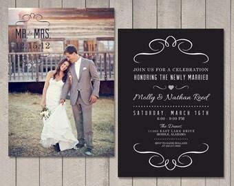 Modern Wedding Reception Invitation (Printable) by Vintage Sweet