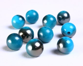 10pc 10mm Blue grey gray acrylic resin beads 10 (882) - Flat rate shipping