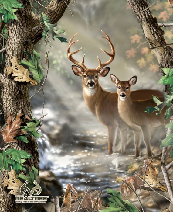 Realtree Fabric Deer Fabric Deer Wall Hanging Panel