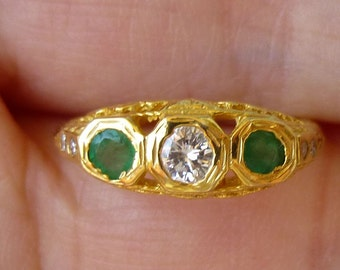 Victorian  Edwardian Yellow gold  14KT filigree wedding ring engagement ring 71 points of round cut diamonds and natural Emeralds
