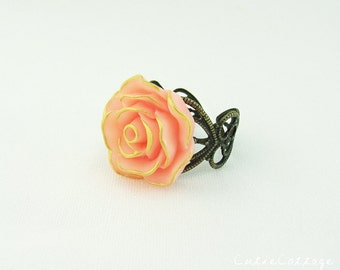 Peach and Gold Rose Flower Ring