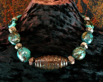 Turquoise Statement Necklace, Carved Jade Dzi Pendant Necklace, Shaman Necklace, Tribal Necklace, Ethnic Jewelry,  Mens, Blue Stone Necklace