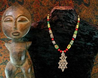 African Trade Bead, Ethiopian Cross Necklace, Star of David, African Necklace, Beadwork, Statement Necklace, Ethnic Necklace,Tribal Necklace