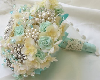 Aqua Blue Bridal Brooch Bouquet, Ivory weding bouquet, Brooch Bouquet
