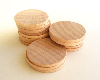 "25 Unfinished Wooden Circles 1.50"" -Small Wooden Circles -Wooden Circles Supplies -Natural Wood Circles -Wood Circles Beads"