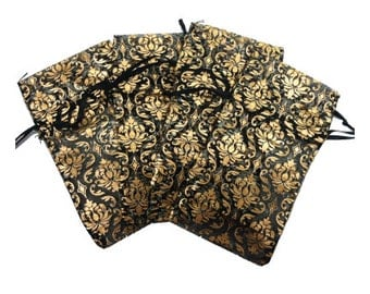 24 Jewelry Damask Sheer Organza Drawstring Pouch Bags 3X5.75