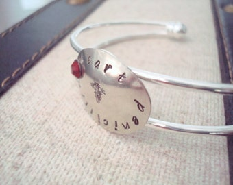 Medical ID Bracelet - Personalized Jewelry - Custom - Silver - Silver Cuff - Hand Stamped - Oval Tag - Swarovski Crystal