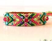 Swarovski Crystal Friendship Bracelet -Bohemian Hippie Gypsy Bracelet- mix of pink and green- Boho Chic