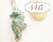 Gray Jade Seahorse necklace, celadon and silver pendant, hippocampus