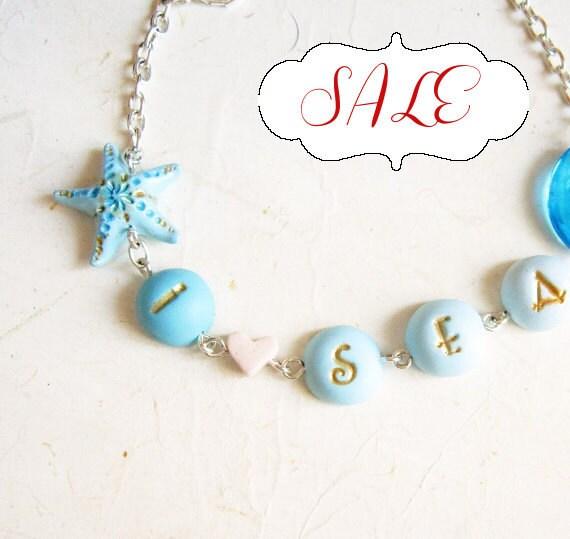 Starfish  bracelet. Word bracelet, I love sea.