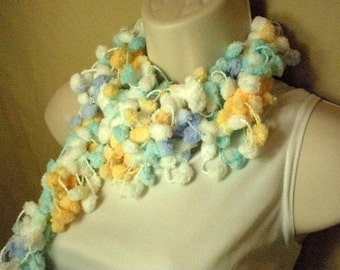 Blue White Yellow Pom Pom Fashion Scarf  Neckwarmer