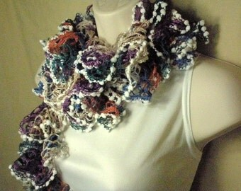 Multicolor Ruffled Lacy Neckwarmer Fashion Scarf