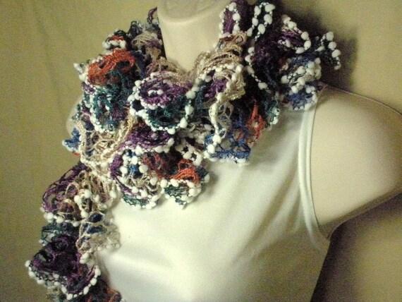 Multicolor Ruffled Lacy Neckwarmer Fashion Scarf