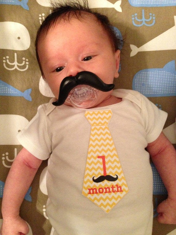 Chevron Tie Baby Monthly Stickers for Baby Boys with Adorable Mustaches...Favorite Baby Shower Gift...Photo Prop...Baby Month Stickers