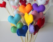 Felt love hearts 10 stems