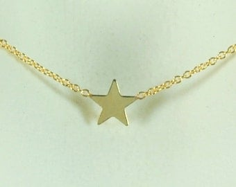 Solid 14K Yellow Star Necklace