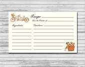 Bicycle Spring Recipe Card - 3x5 INSTANT printable download - flowers basket rustic recipes cards PDF bridal kitchen shower bicycle