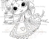 INSTANT DOWNLOAD Digital Digi Stamps Big Eye Big Head Dolls Digi  img669 By Sherri Baldy