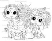 INSTANT DOWNLOAD Digital Digi Stamps Big Eye Big Head Dolls Digi The Girls Besties By Sherri Baldy