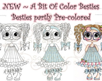 INSTANT DOWNLOAD Digital Digi Stamps Big Eye Big Head Dolls Digi  My Besties Clever Chole Partly Pre Colored Digi  By Sherri Baldy