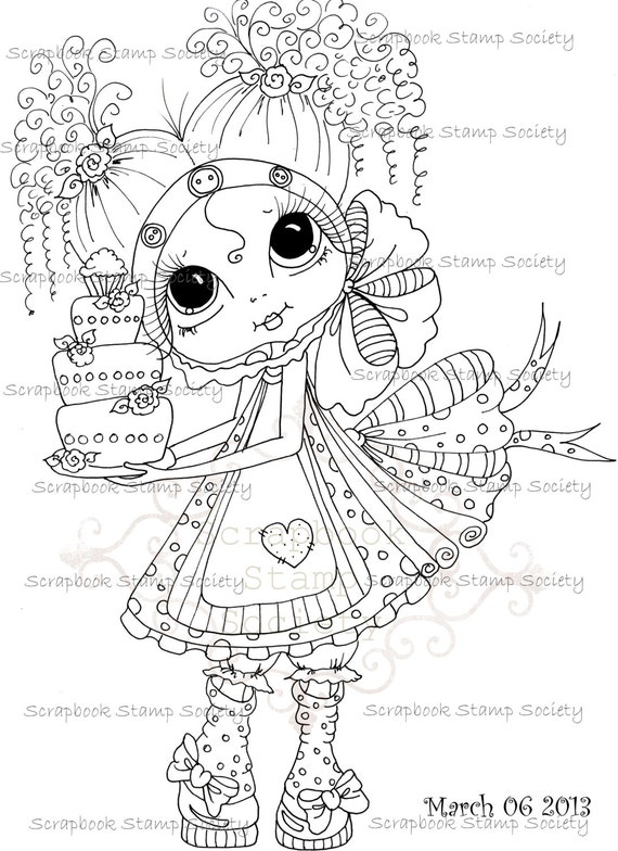 INSTANT DOWNLOAD Digital Digi Stamps Big Eye Big Head Dolls Digi  img669 By Sherri Baldy