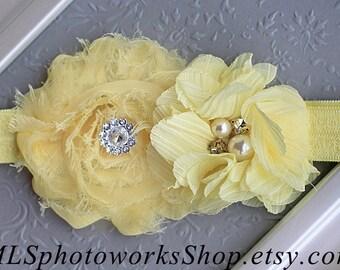 The Limoncello Headband - Yellow Flower Baby or Toddler Hair Bow - Light Lemon Yellow Spring Blossom Baby Girl Headband