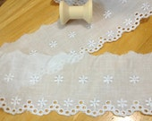 "Cotton Lace Fabric Trim 3 Yards, cotton eyelet scalloped edged trim, cotton fabric eyelet trim 3"" inch wide No. L2-39  LAST PIECE"