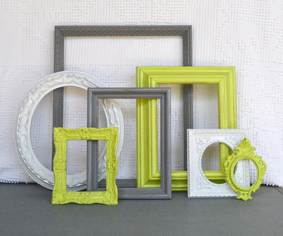 Lime Green Grey Gray White Ornate Frames Set Of 7 Upcycled