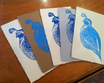 handmade linocut quail greeting cards in blue--pack of 6