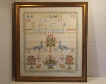hand embroidered sampler
