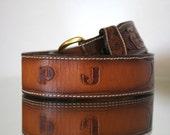 "Vintage Larry Mahans ""PJ"" Tooled Leather Belt"