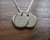 Two Stamped Initial Charms pendant necklaces